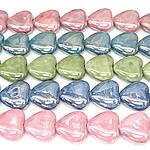 Beads pearlized Porcelani, Zemër, i praruar, ngjyra të përziera, 27-28x25-26x12-13mm, : 2mm, 100PC/Qese,  Qese
