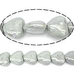 Beads pearlized Porcelani, Zemër, i praruar, gri, 27-28x25-26x12-13mm, : 2mm, 100PC/Qese,  Qese