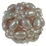 Ball Cluster Zuchtperlen, Natürliche kultivierte Süßwasserperlen, mit Glas-Rocailles, rund, violett, 17mm, verkauft von PC