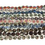 Beads Natyrore Shell Shtypi, Predhë, Monedhë, asnjë, ngjyra të përziera, 20x4mm, : 1.5mm, :15.5Inç, 10Fillesat/Qese,  Qese