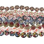 Beads Natyrore Shell Shtypi, Predhë, Monedhë, asnjë, ngjyra të përziera, 24x3mm, : 1.5mm, :15.5Inç, 10Fillesat/Qese,  Qese