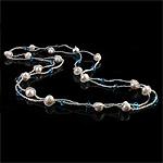 Ujërave të ëmbla Pearl gjerdan Crystal, Pearl kulturuar ujërave të ëmbla, with Kristal & Seed Glass Beads, natyror, 7-8mm, :47Inç,  47Inç,
