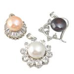 Pendants Pearl ujërave të ëmbla, Pearl kulturuar ujërave të ëmbla, with Kub kub & Alloy zink, Round Flat, natyror, ngjyra të përziera, 9-10mm, 20-29mm, : 2-3mm, 20PC/Qese,  Qese