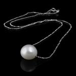 Ujërave të ëmbla Pearl gjerdan Zinxhiri tunxh, Pearl kulturuar ujërave të ëmbla, with Tunxh, Round Flat, natyror, e bardhë, 10-11mm, :17Inç,  17Inç,