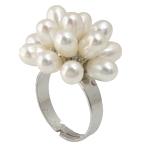 Ujërave të ëmbla Pearl Ring Finger, Pearl kulturuar ujërave të ëmbla, with Tunxh, Shape Tjera, asnjë, e bardhë, 5-6mm, 24x22mm, :8, 10PC/Qese,  Qese