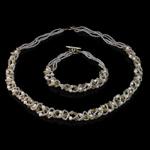 Natyrore kulturuar Pearl ujërave të ëmbla bizhuteri Sets, Pearl kulturuar ujërave të ëmbla, with Kristal & Seed Glass Beads, Oriz, natyror, e bardhë, 2-3mm, 4x4mm, :17Inç,  7.5Inç,  I vendosur