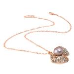 Ujërave të ëmbla Pearl gjerdan Zinxhiri tunxh, Pearl kulturuar ujërave të ëmbla, with Diamant i rremë & Tunxh, Round, natyror, vjollcë, 36x26mm, 12-13mm, :17Inç,  17Inç,