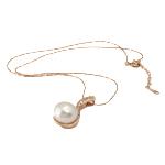 Ujërave të ëmbla Pearl gjerdan Zinxhiri tunxh, Pearl kulturuar ujërave të ëmbla, with Diamant i rremë & Tunxh, Round, natyror, e bardhë, 13x29mm, 12mm, :17Inç,  17Inç,