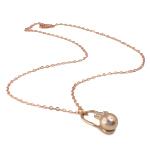 Ujërave të ëmbla Pearl gjerdan Zinxhiri tunxh, Pearl kulturuar ujërave të ëmbla, with Diamant i rremë & Tunxh, Round, natyror, rozë, 16x26mm, 10-11mm, :17Inç,  17Inç,