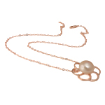Ujërave të ëmbla Pearl gjerdan Zinxhiri tunxh, Pearl kulturuar ujërave të ëmbla, with Tunxh, Round, natyror, rozë, 24x26mm, 13-14mm, :17Inç,  17Inç,