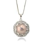 Pendants Pearl ujërave të ëmbla, Pearl kulturuar ujërave të ëmbla, with Diamant i rremë & Tunxh, Round, natyror, rozë, 20x28mm, 12-13mm, : 5x3mm,  PC