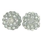 Beads diamant i rremë Rrëshirë, Rrëshirë diamant i rremë, Round, asnjë, me diamant i rremë, e bardhë, 14x16mm, : 2mm, 100PC/Qese,  Qese