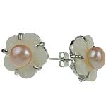Një palë vathë Pearl ujërave të ëmbla, Pearl kulturuar ujërave të ëmbla, Lule, asnjë, rozë, 15mm, 10Çiftet/Qese,  Qese