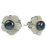 Një palë vathë Pearl ujërave të ëmbla, Pearl kulturuar ujërave të ëmbla, Lule, asnjë, asnjë, 15mm, 10Çiftet/Qese,  Qese