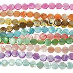 Beads Natyrore Colored Shell, Predhë, Monedhë, asnjë, ngjyra të përziera, 10x3mm, : 1mm, :15.5Inç, 10Fillesat/Qese,  Qese