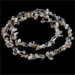 Ujërave të ëmbla Pearl gjerdan Crystal, Pearl kulturuar ujërave të ëmbla, with Kristal & Seed Glass Beads, natyror, 6-7mm, :31Inç,  31Inç,