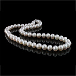 Natyrore ujërave të ëmbla Pearl gjerdan, Pearl kulturuar ujërave të ëmbla, Round, e bardhë, AAA, 8-9mm, :17Inç,  17Inç,
