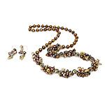 Natyrore kulturuar Pearl ujërave të ëmbla bizhuteri Sets, Pearl kulturuar ujërave të ëmbla, with Kristal, Shape Tjera, natyror, ngjyra të përziera, 6-7mm, 8-9mm, 38mm, :27Inç,  I vendosur