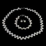 Natyrore kulturuar Pearl ujërave të ëmbla bizhuteri Sets, Pearl kulturuar ujërave të ëmbla, Round, natyror, e bardhë, 7-8mm, 8-9mm, :15.5Inç,  7Inç,  I vendosur