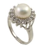 Ujërave të ëmbla Pearl Ring Finger, Pearl kulturuar ujërave të ëmbla, e bardhë, 9-10mm, : 18mm, :7.5, 10PC/Qese,  Qese