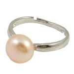 Ujërave të ëmbla Pearl Ring Finger, Pearl kulturuar ujërave të ëmbla, with Tunxh, rozë, 10-11mm, : 18mm, :7.5, 10PC/Qese,  Qese