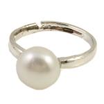 Ujërave të ëmbla Pearl Ring Finger, Pearl kulturuar ujërave të ëmbla, e bardhë, 10-11mm, : 18mm, :7.5, 10PC/Qese,  Qese