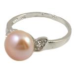 Ujërave të ëmbla Pearl Ring Finger, Pearl kulturuar ujërave të ëmbla, with Diamant i rremë & Tunxh, rozë, 10-11mm, : 18mm, :7.5, 10PC/Qese,  Qese