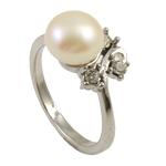 Ujërave të ëmbla Pearl Ring Finger, Pearl kulturuar ujërave të ëmbla, e bardhë, 8-9mm, : 18-19mm, 10PC/Qese,  Qese