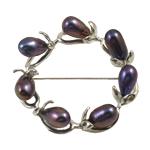 Pearl ujërave të ëmbla karficë, Pearl kulturuar ujërave të ëmbla, Petull e ëmbël në formë gjevreku, e zezë, 7-8mm,  PC