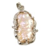 Pendants Pearl ujërave të ëmbla, Pearl ujërave të ëmbla kulturuar Nucleated, with Alloy zink, Nuggets, natyror, rozë, 15x26x16mm, : 4x4mm,  PC