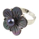 Shell Finger unaza, Predhë, with Pearl kulturuar ujërave të ëmbla & Tunxh, Lule, asnjë, asnjë, asnjë, 7-8mm, : 18mm, :7.5, 10PC/Qese,  Qese