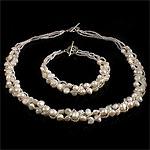 Natyrore kulturuar Pearl ujërave të ëmbla bizhuteri Sets, Pearl kulturuar ujërave të ëmbla, with Seed Glass Beads, Nuggets, natyror, rozë, 5-6mm, :17Inç,  7.5Inç,  I vendosur
