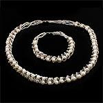 Natyrore kulturuar Pearl ujërave të ëmbla bizhuteri Sets, Pearl kulturuar ujërave të ëmbla, Round, natyror, e bardhë, 4-5mm, :17Inç,  7.5Inç,  I vendosur