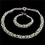 Natyrore kulturuar Pearl ujërave të ëmbla bizhuteri Sets, Pearl kulturuar ujërave të ëmbla, Round, natyror, e bardhë, 3-4mm, :17Inç,  7.5Inç,  I vendosur