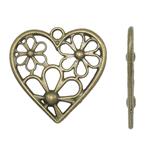 Pendants Heart Zink Alloy, Alloy zink, Zemër, Ngjyra antike bronz i praruar, i uritur, asnjë, , nikel çojë \x26amp; kadmium falas, 29x28x1mm, : 2mm, 400PC/KG,  KG