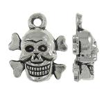 Pendants Skull Alloy zink, Kafkë, Ngjyra antike argjendi praruar, Antique imitim, asnjë, , nikel çojë \x26amp; kadmium falas, 13x14x5mm, : 2mm, 830PC/KG,  KG