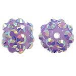 Beads diamant i rremë Rrëshirë, Rrëshirë diamant i rremë, Round, asnjë, me diamant i rremë, vjollcë, 10x12mm, : 1mm, 100PC/Qese,  Qese