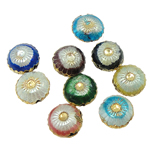 Beads Smooth Cloisonne, Round Flat, 10x6mm, : 1mm, 40PC/Qese,  Qese