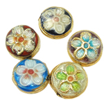 Beads Smooth Cloisonne, Round Flat, 10x5mm, : 1mm, 40PC/Qese,  Qese