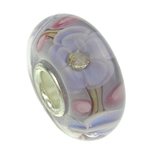 Lampwork Style European, Rondelle, 16x8mm, : 4mm,  PC