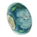 Lampwork Style European, Rondelle, core cupronickel vetme pa karrem, 16x8mm, : 4mm,  PC