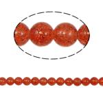 Knistern Glasperlen, Glas, rund, rote Orange, 10mm, Bohrung:ca. 2mm, Länge:ca. 31 ZollInch, 10SträngeStrang/Tasche, verkauft von Tasche