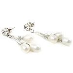 Një palë vathë Pearl ujërave të ëmbla, Pearl kulturuar ujërave të ëmbla, with Diamant i rremë, Shape Tjera, asnjë, e bardhë, 6-7mm, 39-42mm, :10, 10Çiftet/Qese,  Qese