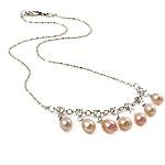 Ujërave të ëmbla Pearl gjerdan Zinxhiri tunxh, Pearl kulturuar ujërave të ëmbla, with Diamant i rremë & Tunxh, Lot, natyror, rozë, 6-7mm, :16.5Inç,  16.5Inç,