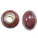 Porcelani Beads European, Rondelle, i praruar, core bronzi të dyfishtë pa karrem, i kuq, 11-11.5x15-15.5mm, : 5mm, 100PC/Qese,  Qese
