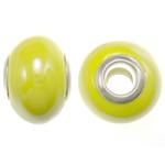 Porcelani Beads European, Rondelle, i praruar, core bronzi të dyfishtë pa karrem, 11-11.5x15-15.5mm, : 5mm, 100PC/Qese,  Qese