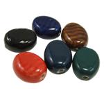 Beads xham porcelani, Oval, xham, ngjyra të përziera, 24x20x13mm, : 3mm, 50PC/Qese,  Qese