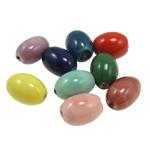 Beads xham porcelani, Oval, xham, ngjyra të përziera, 18x13mm, : 2.5mm, 100PC/Qese,  Qese