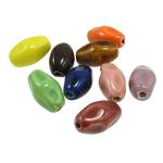 Beads xham porcelani, Oval, xham, ngjyra të përziera, 21x12.50mm, : 2mm, 100PC/Qese,  Qese