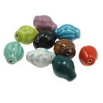Beads xham porcelani, Oval, xham, ngjyra të përziera, 22x15mm, : 1.5mm, 57PC/Qese,  Qese